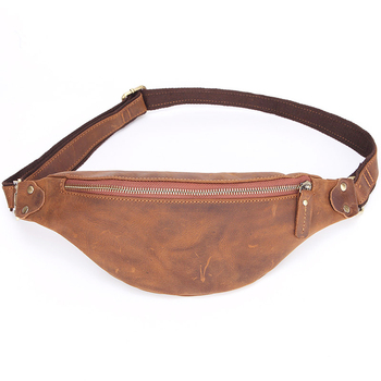 Genuine Leather Waist Bag Fanny Pack Multifunction Hip Bum Bag Travel Pouch for Men