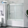 Frameless sliding glass doors 1sided shower bath combo double sliding glass door shower enclosure with tub