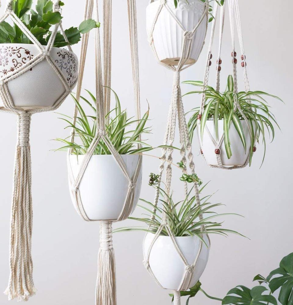 Plantas de parede Pendurado Titular Corda de Algodão, Macrame Planta Pendurado Para Decoração de Jardim
