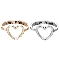 Friendship symbol black laser engrave silver gold color stainless steel best friends forever rings for friend gift