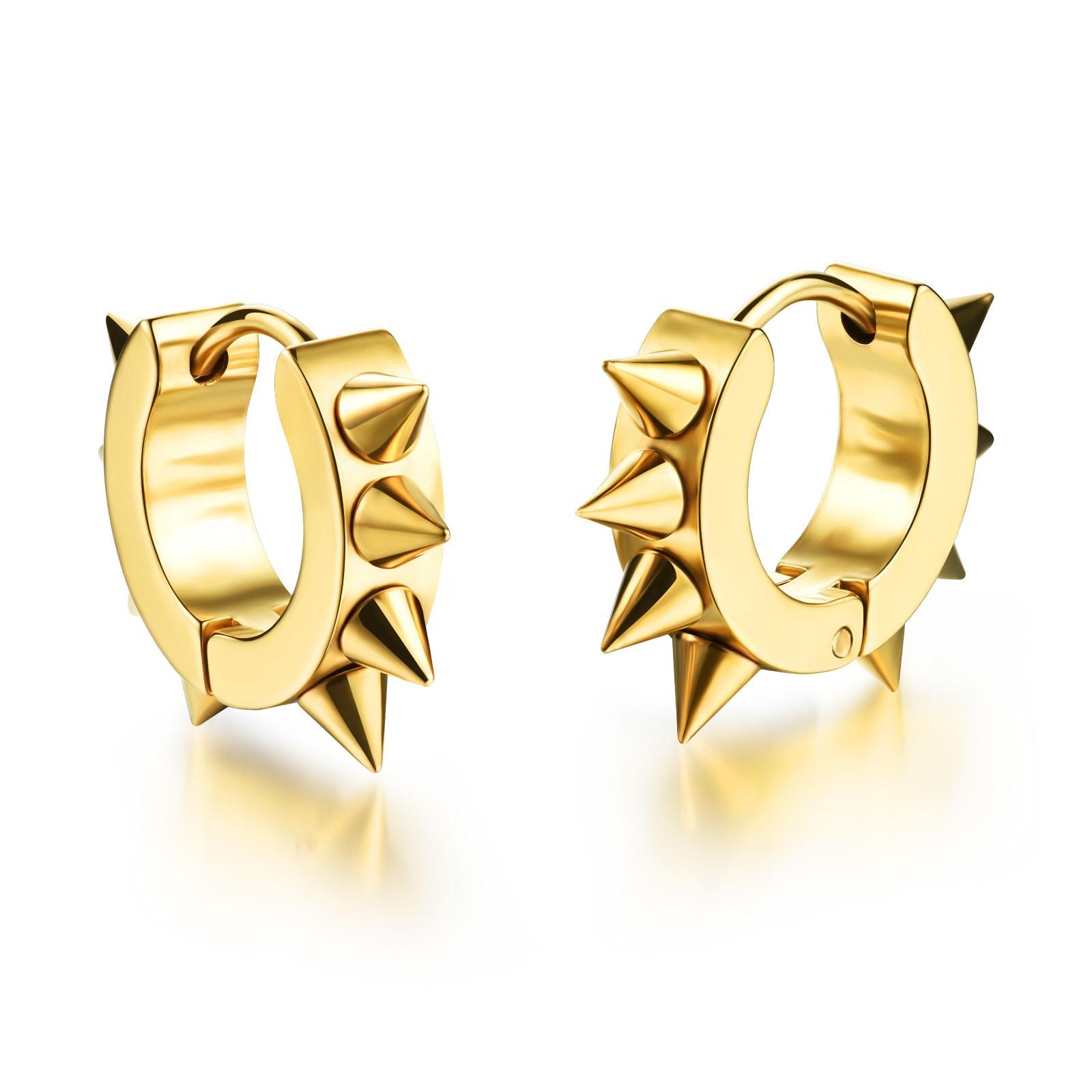Lary Jewelry Boys Girls Stainless Steel Spiky Spikes Huggie Hoop Earrings Hip Hop 3 Colors