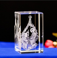 Cheap 3D Laser Engraved Crystal Cube Christian Gift Wholesale