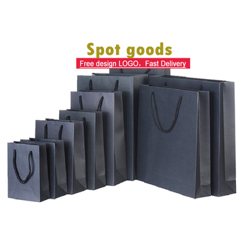 Wholesale spot goods custom luxury clothes bag black shopping paper bag kraft gift packaging bag with logo print