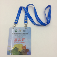 factory GP836 low MOQ high quality new design custom Two holes Plastic Exhibition VIP name card with lanyard or ribbon for show