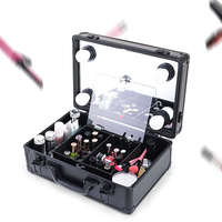 Small Portable Glass Mirror Makeup Artist Removable Led Light Box With Wheel