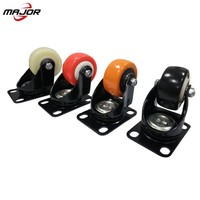 Caster Wheels Swivel Plate with Brake On Color Polyurethane Castor Wheels