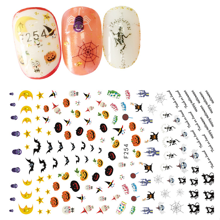 Halloween Waterproof DIY Gel Nail Art Decal Nail Sticker For Nail Decoration