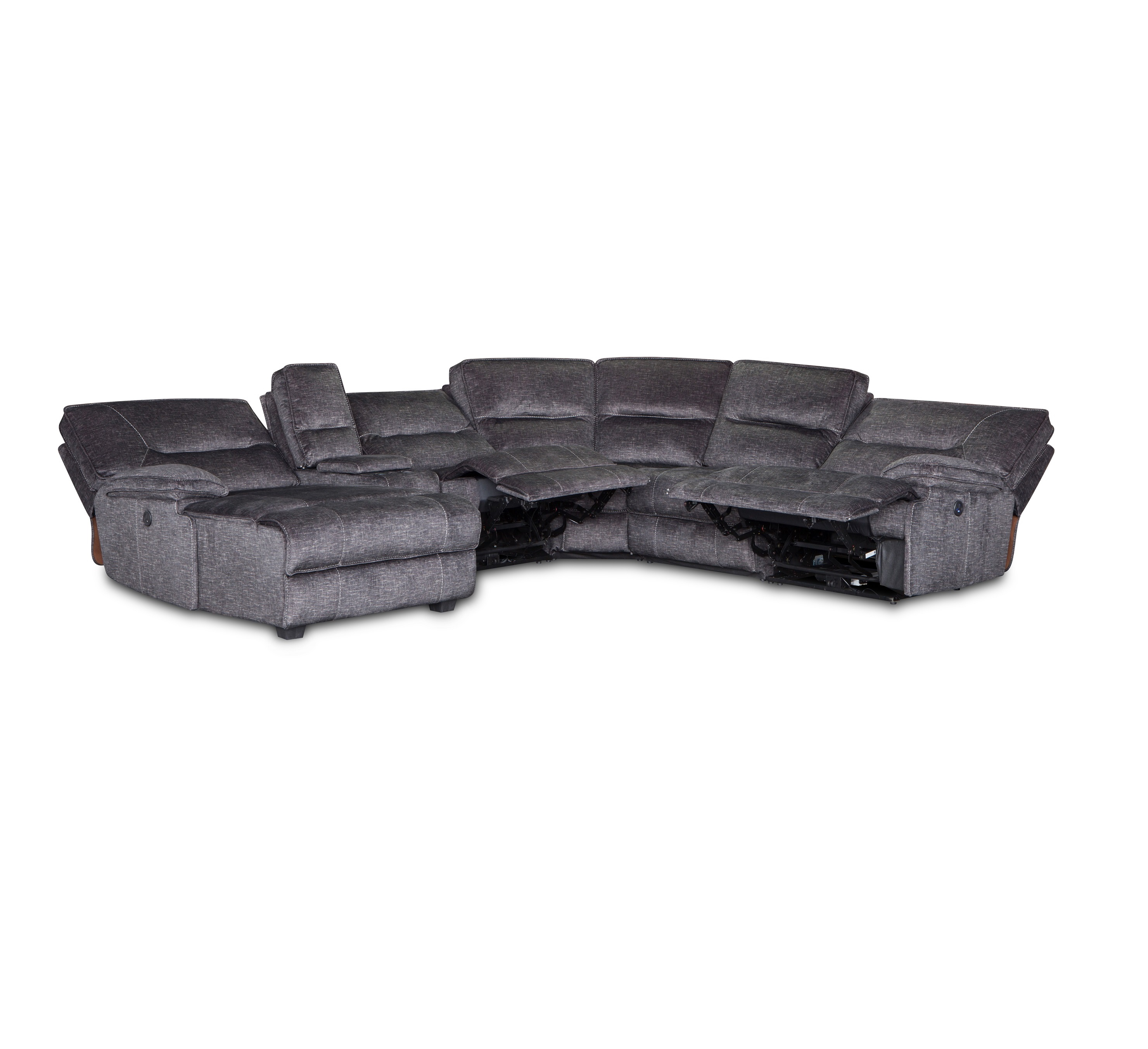 Luxury multifunction fabric recliner sectional sofa set