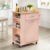 Bamboo Natural Kitchen Trolley Cart with Wooden Board