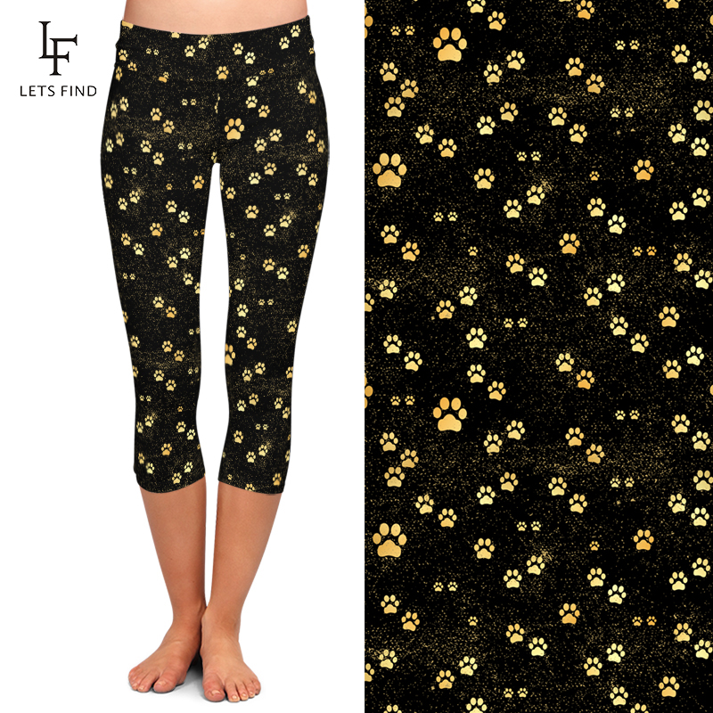 High waist sexy women capri leggings custom dog's paw printed 230gsm double brushed milk silk stretchy yoga pants