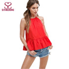 Plain red cotton young girls top summer clothing for girls fashion design