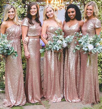 Sparkly Rose Gold Bruidsmeisje Jurken <span class=keywords><strong>2019</strong></span> Sequin Bruidsmeisje Jurken Goedkope Mermaid <span class=keywords><strong>Prom</strong></span> Jassen Backless Land Beach Party Dress