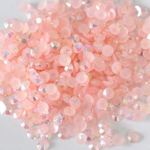 Bling glitter resin rhinestone flatback round beads perfect cut light peach AB jelly resin rhinestone for poland nail art crafts