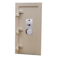 HomeTech Custom High Security Safe Vault Doors with five spoke SS handle, or round Stainless Steel Wheel Handle