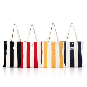 359a20856362 Classical Stripe Design Large Capacity Canvas Tote Shoulder Bag