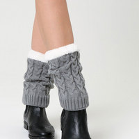 Women chunky short fleece lined cable knit boot cuffs faux fur lined cable knitting boot toppers cuffs cover leg warmers socks
