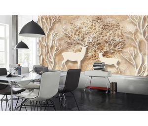 3d Relief Elk Decoration Living Room Wall Wall Paper Embossed Wallpaper For Kids Room