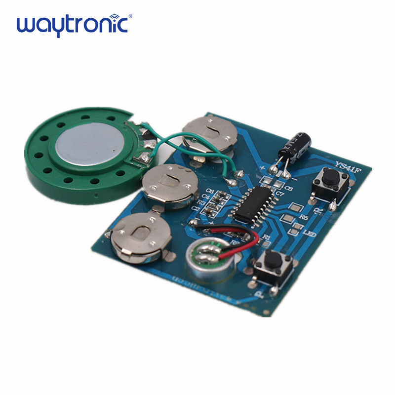 Voice recording and playback of recordable sound chips postcard module with speakers