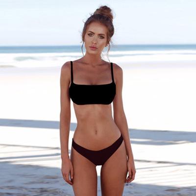 2019 customize logo low MOQ Special fabric High waist Solid color dropshipping bikini, women swimwear, sexy two piece swimsuit