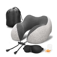 Cooling Set Eye Mask Neck Rest Cushion 3 in1 U Shape Memory Foam Travel Neck Pillow