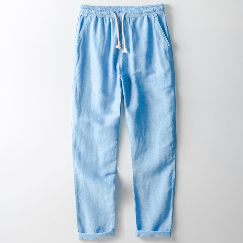Pantalones Finos Informales Para Hombre 55 Lino 45 Algodon Listos Para Enviar Buy Pantalones Suaves Transpirables De Cuatro Colores Disponibles Para Hombres Gran Venta Pantalones Sueltos De Cintura Elastica Para Hombres Pantalones Largos Solidos De