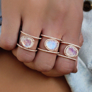 New Oval Moonstone diamond Ring women Vintage Antique Zinc Alloy Wedding Engagement