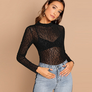 High Quality New Design Woman long sleeve Transparent Tops Sexy female solid Black Tops ladies blouses & tops