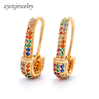 Rainbow zircon safety pin earrings delicate jewelry accessories huggie earrings for women