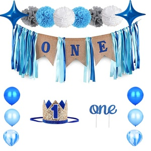 Happy Birthday Cake Topper Baby Headband Crown Boy Party Decorations