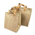 Travel [ Shopping Jute Bag With Leather ] Jute Travel Bag Travel Bag Natural Recycling Blank Heavy Duty Shopping Book Travel Tote Burlap Jute Bag With Pu Leather Handle
