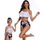 Girls Swimsuit Two Piece Bikini Set Mother and Daughter Swimwear Floral Print Bathing Suit