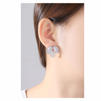 Manufacturers directly loquat leaf zircon fashion creative leaf-shaped female stud earrings for gifts