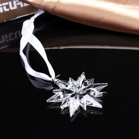 2019 Fashion Hanging Crystal glass Snowflake Christmas Ornaments Decoration crystal ornaments christmas snowflake ornament