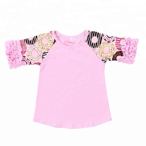 3ef2def5963 Howell latest wholesale children clothes kids girl solid color ruffle icing  raglan shirt