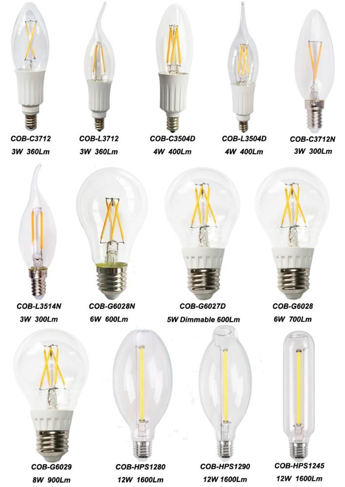 Hot Sale Cob-hps1245 Decorative Led Filament Bulb 12w Tungsten ...