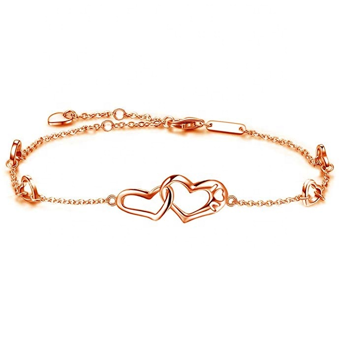 Gold Boho LOVE HEART chain SLAVE BRACELET bridal Belly Dancing fashion jewellery