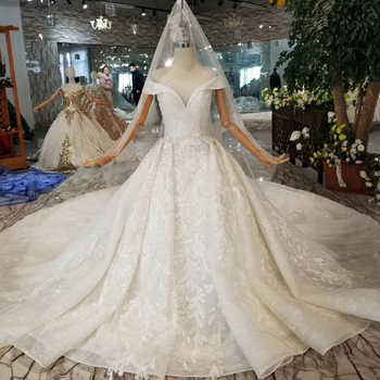 HTL092 wedding dress ivory 2019 wedding cap sleeves ball gowns with long veil