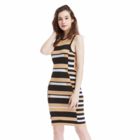 Newest Wholesale Ladies Casual Dress High Quality Daily Wear Bodycon Knit Dresses With Stripes