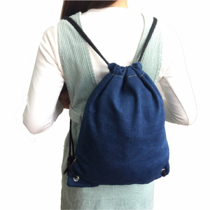 Eco-Friendly Accommodable Rip-Resistant Practical Outdoor Multipurpose Jeans Denim Drawstring Rucksack Backpack