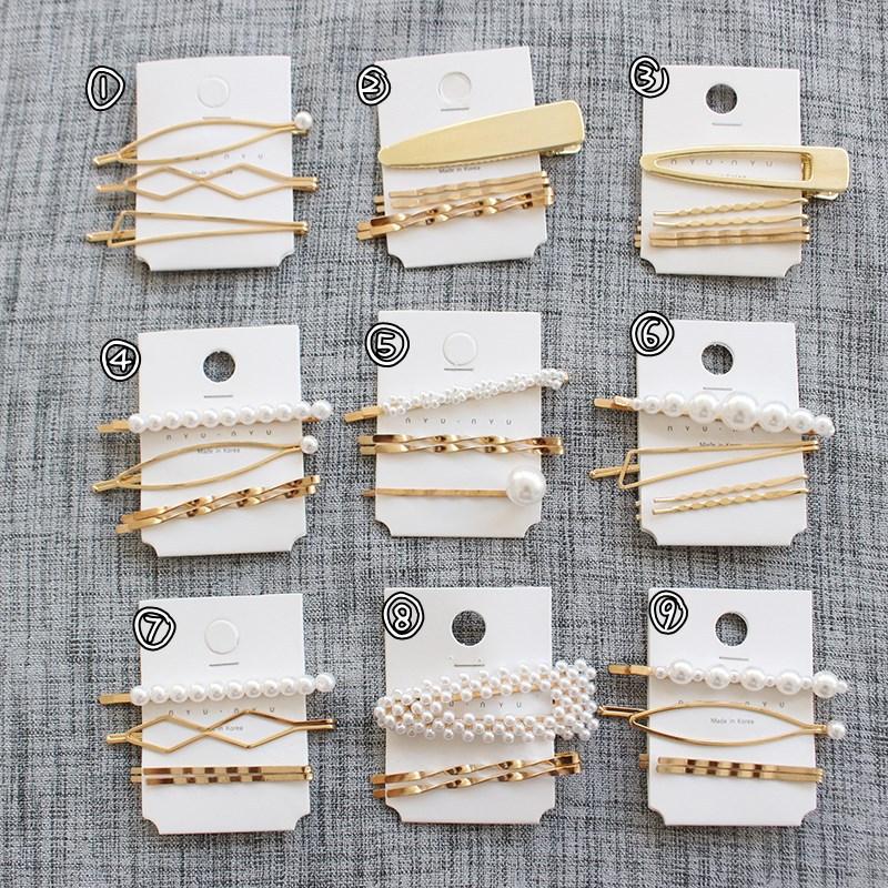 Vendita Diretta della fabbrica Personalizzato Oro Argento Delle Donne Delle Ragazze Regalo Set Accessori Stella Luna Forma di Lettera Coreano Clip di Capelli Della Perla