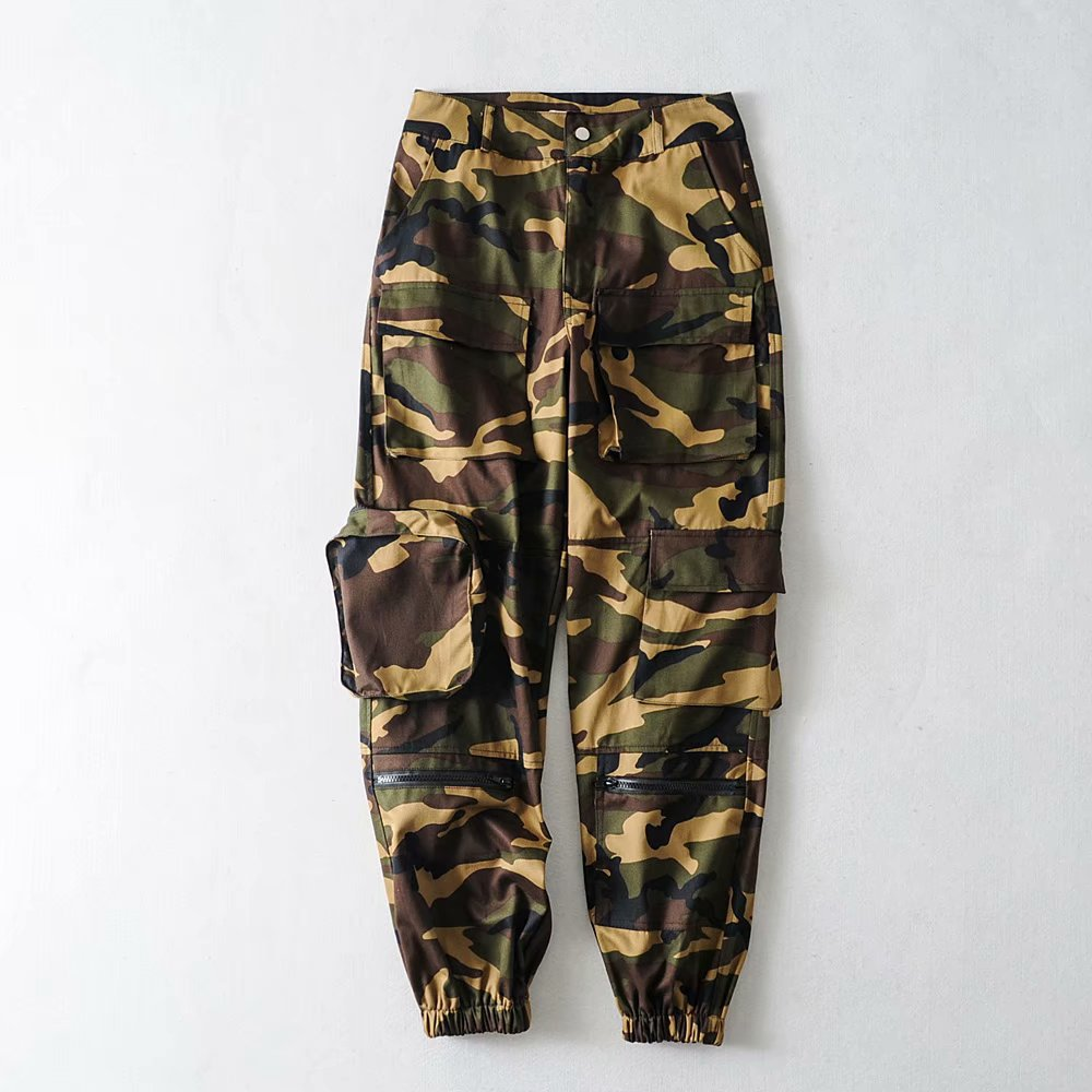 Camouflage rits losse overalls vrouwen casual jogger cargo broek