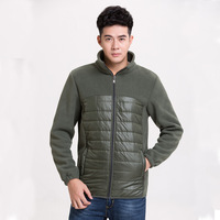 manufacturer color block quilted jacket fashion winter coat fleece matching fabric Padding jacket man