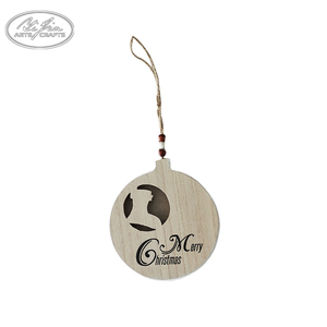Factory direct sale wooden carved hanging christmas ball christmas tree decoration