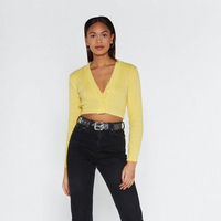 100% Acrylic Yellow Thin Mini Cropped Knit Cardigan
