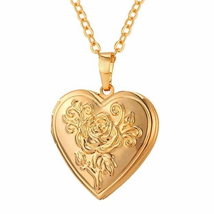 cda015a3ba930 MECYLIFE Copper Heart With Elegant Flower Design 18K Gold Plated Heart  Necklace Floating Locket Pendant
