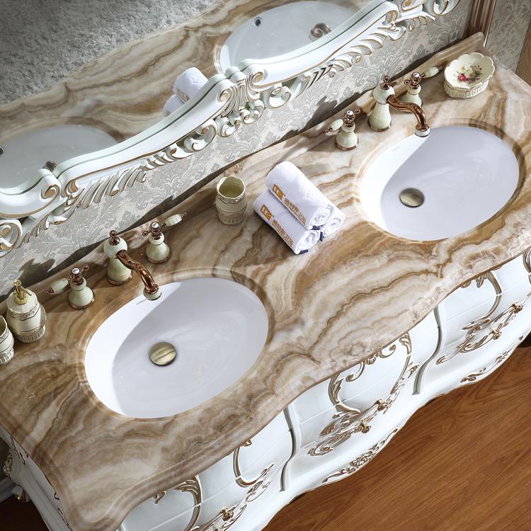 Luxury bathroom vanity furniture with double basin