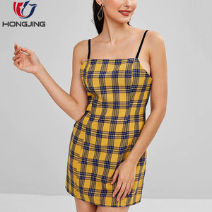 Summer fashion casual sleeveless sex girl plaid mini cami dress