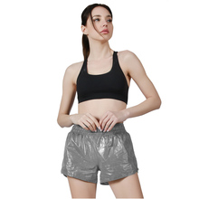 Running Sport Double Layer Reflecterende Rits Water Slip Yoga <span class=keywords><strong>Shorts</strong></span> Vrouwen