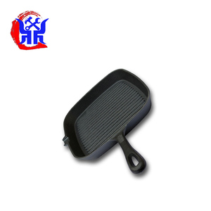Hot sale cast iron frypan wooden handles griddle grill pan for BBQ