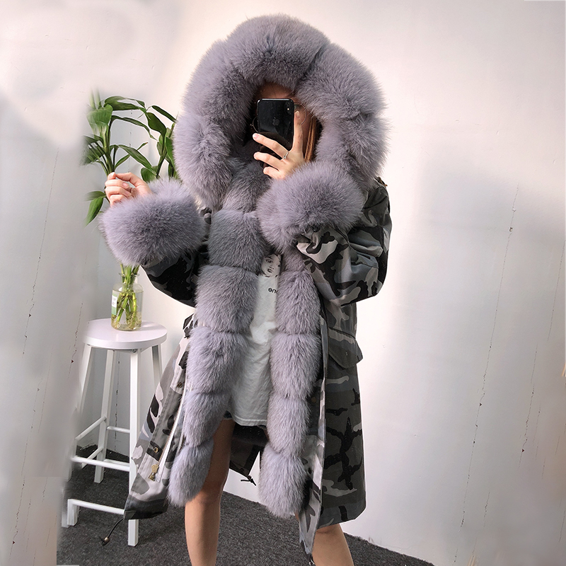 Outwear Camouflage Thick Winter Parka Jacket Removable Fur Lining and Fox Fur Collar Winter Parka Women
